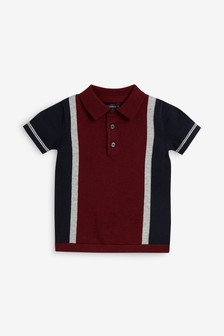 Short Sleeve Colourblock Knitted Polo (3mths-7yrs)