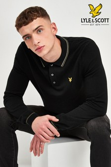 Lyle & Scott Black Knitted Polo