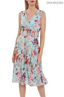 Gina Bacconi Green Daphnie Floral Chiffon Maxi Dress