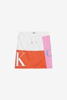 Calvin Klein Girl Pink Jeans Monogram Patchwork Skirt