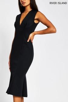 River Island Black V-Neck Bodycon Dress