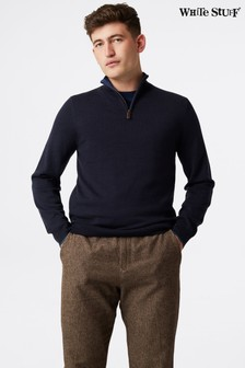 White Stuff Blue Keswick Merino Funnel Neck Jumper