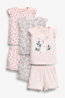 3 Pack Floral Bunny Short Pyjamas (9mths-8yrs)