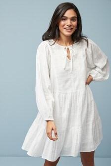 Tiered Embroidered Kaftan Dress