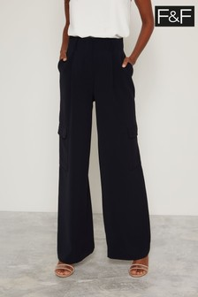 F&F Navy Belted Wide Leg Utility Trousers