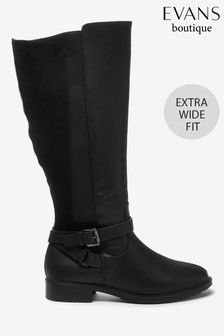 Evans Extra Wide Fit Black Cross Strap Rider Boots