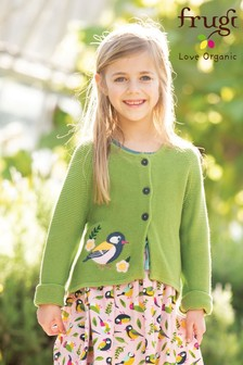 Frugi Organic Knitted Cardigan With Bird Embroidery
