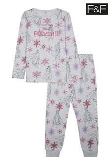 F&F Grey Marl Frozen Gift Square Pyjamas