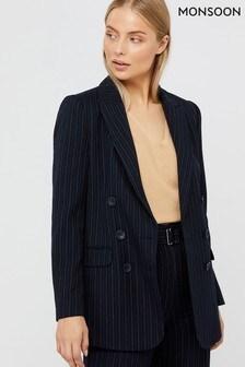 Monsoon Navy Paige Pin Stripe Jacket