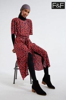 F&F Red Animal Midi Dress