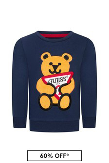 Guess Boys Blue Cotton Sweater