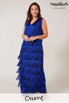 Studio 8 Blue Tessa Fringe Maxi Dress