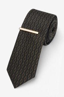 Diamond Pattern Tie With Tie Clip Set