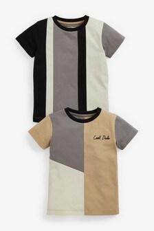 2 Pack Organic Cotton Colourblock T-Shirts (3mths-7yrs)