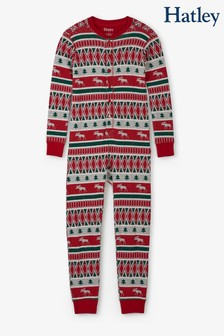 Hatley Red Winter Fairisle Pattern Organic Cotton One Piece