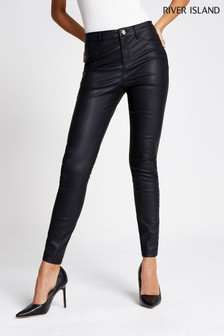 River Island Black PU Skinny Trousers