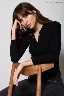 Mint Velvet Black Rib Knit Poloshirt Top