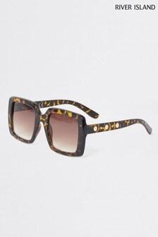 River Island Tortoiseshell Effect Joan Square Glam Sunglasses