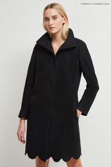 French Connection Black Carmelita Plat Felt Scallop Hem Coat