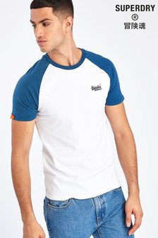Superdry Kurzärmeliges Baseball-T-Shirt, Weiß