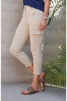 Verkürzte Skinny Fit Utility-Jeans