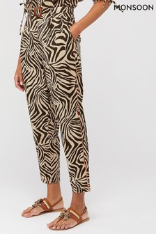 Monsoon Brown Zadie Zebra Print Organic Cotton Trousers