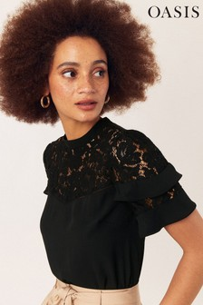 Oasis Black Lace Tiered Sleeve Top