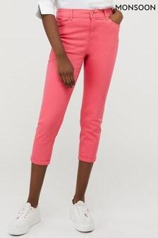 Monsoon Pink Idabella Capri Organic Cotton Denim Jeans