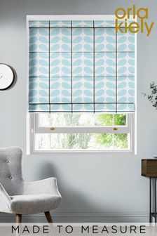 Two Colour Stem Powder Blue Made To Measure Roman Blind by Orla Kiely
