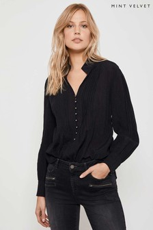 Mint Velvet Black High Neck Rouleau Blouse