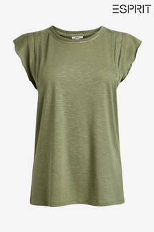Esprit Green T-Shirt With Frill Sleeve