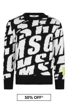 MSGM Boys Black And White All Over Logo Knit Jumper