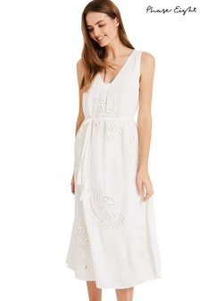 Phase Eight White Esmae Rose Broidery Dress