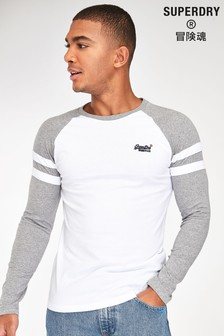 Superdry White Long Sleeve Ringer T-Shirt