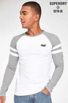 חולצת טי ארוכה של Superdry דגם Ringer בלבן