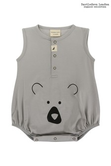 Turtledove London Grey Bear Head Placement Bubble Romper