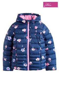 Joules Blue Kinnaird Girls Packaway Padded Coat