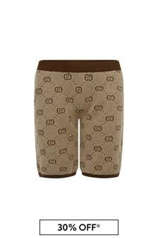 GUCCI Kids Boys Beige Wool GG Shorts