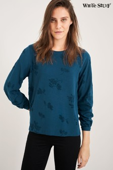 White Stuff Teal Texture Flower Jersey Top