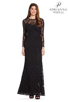 Adrianna Papell Black Burnout Emblem Gown