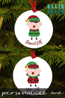 Personalised Elf Christmas Decoration by Ellie Ellie