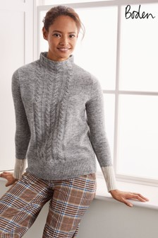 Boden Grey Edinburgh Fluffy Cable Jumper