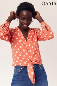 Oasis Orange Spot Tie Front Shirt