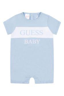 Guess Baby Boys Blue Cotton Shortie Romper