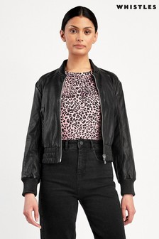 Whistles Black Leather Tia Cropped Bomber Jacket