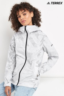 adidas Terrex White Camo Rain Jacket