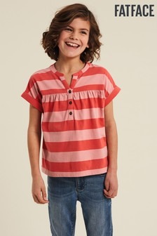 FatFace Pink Stripe Popover T-Shirt
