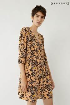 Warehouse Tan Floral Leopard Mini Dress