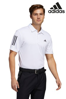 adidas Golf White 3 Stripe Poloshirt