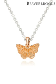 Beaverbrooks Sterling Silver And Rose Gold Plated Butterfly Pendant